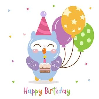 Dibujos animados lindo búho con dulce pastel de cumpleaños