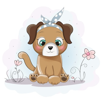 Dibujos animados lindo cachorro niña con un pañuelo en el campo de flores