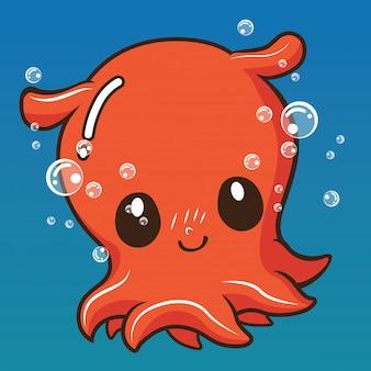 Dibujos animados lindo calamar., concepto de dibujos animados de animales.