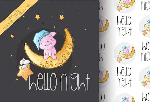 Dibujos animados lindo cerdito en la luna de patrones sin fisuras