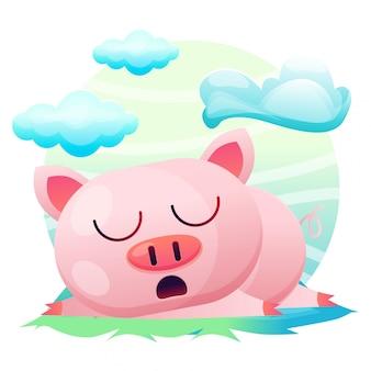 Dibujos animados lindo cerdo