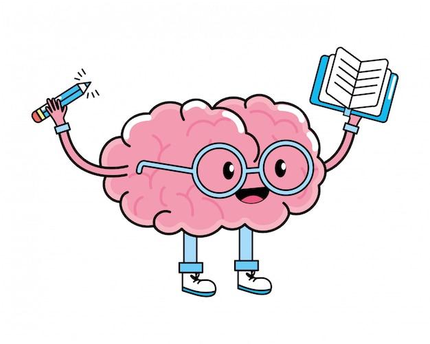 Dibujos animados lindo cerebro | Vector Premium