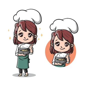 Dibujos animados lindo chef mujer