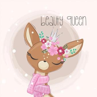 Dibujos animados lindo ciervo niña con flor