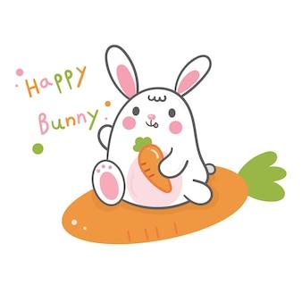 Dibujos animados lindo conejito y zanahoria