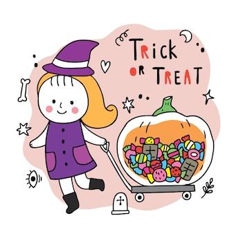 Dibujos animados lindo día de halloween, chica y truco o trato de dulces de calabaza grande