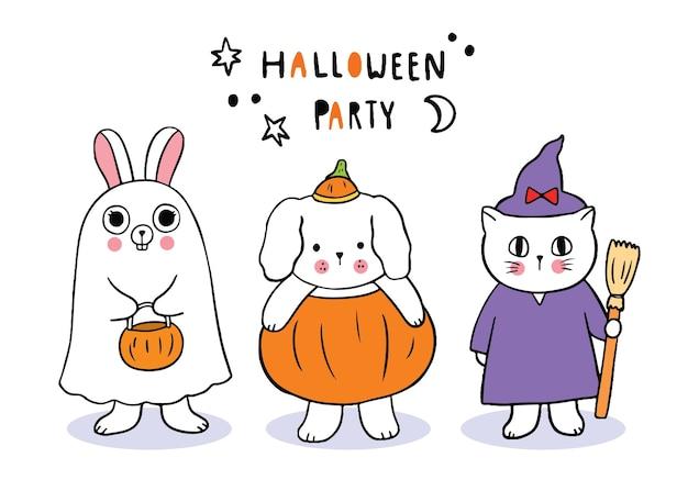 Dibujos animados lindo día de halloween, conejo y perro y gato truco o trato