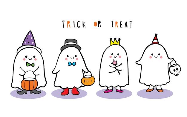 Dibujos animados lindo día de halloween, truco o trato de fantasmas