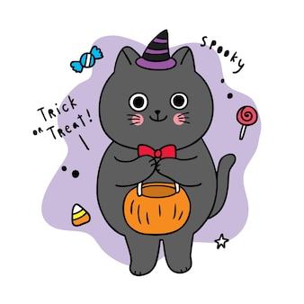 Dibujos animados lindo día de halloween, truco o trato de gato negro