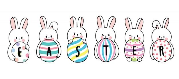 Dibujos animados lindo día de pascua conejos y huevos coloridos