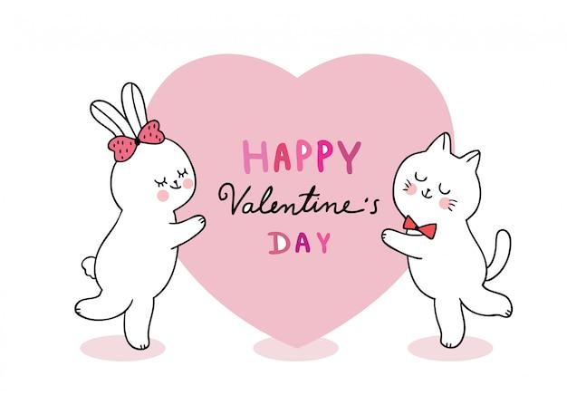 Dibujos animados lindo día de san valentín gato y conejo y gran corazón vector.