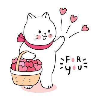 Dibujos animados lindo día de san valentín gato y corazones en el vector de la cesta.