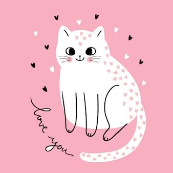 Dibujos animados lindo día de san valentín gatos y corazones vector.