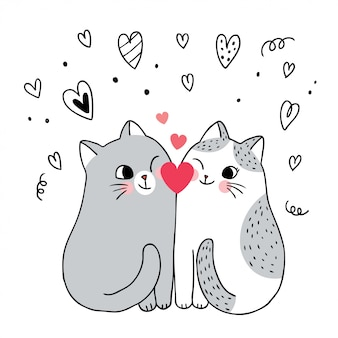 Dibujos animados lindo día de san valentín pareja gatos y corazón vector.