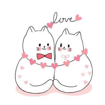 Dibujos animados lindo día de san valentín pareja gatos y corazones vector.