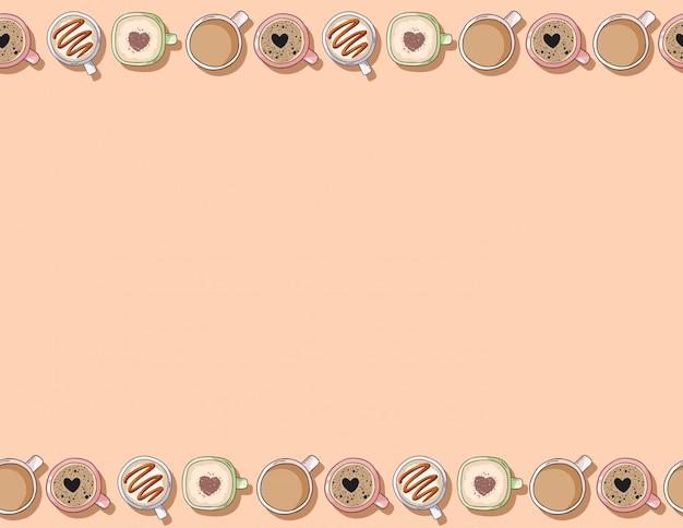 Dibujos animados lindo dibujado a mano tazas de deliciosas bebidas de café y crema de cacao de patrones sin fisuras