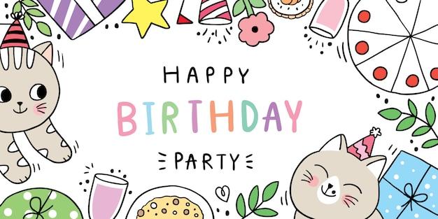 Dibujos animados lindo dibujar gato, fiesta de feliz cumpleaños.