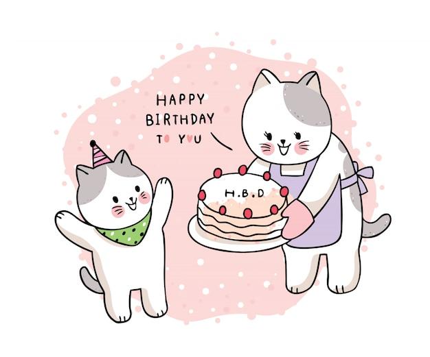 Dibujos animados lindo dibujar madre y bebé gato y pastel, feliz cumpleaños