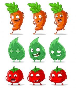 Dibujos animados lindo divertido zanahorias tomates y hoja verde
