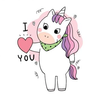 Dibujos animados lindo doodle unicornio y corazón.