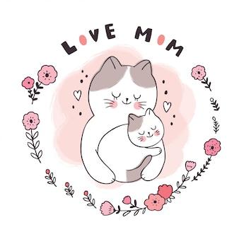 Dibujos animados lindo dulce sueño, madre y bebé gato durmiendo en círculo de marco de hoja