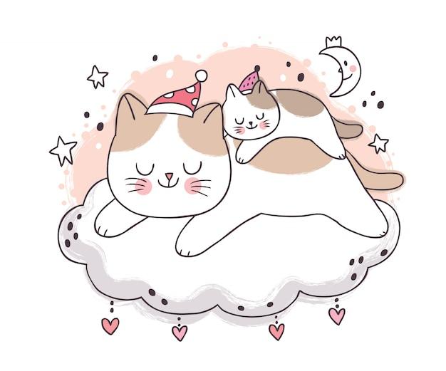 Dibujos animados lindo dulce sueño, madre y bebé gato durmiendo en la noche en la nube