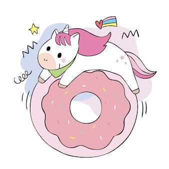 Dibujos animados lindo dulce unicornios y gran donut.