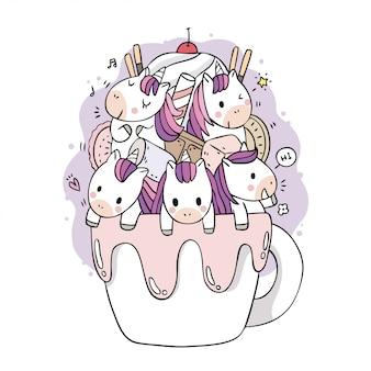 Dibujos animados lindo dulce unicornios y taza de café