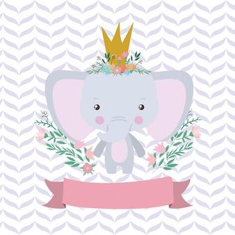 Dibujos animados lindo elefante y cinta