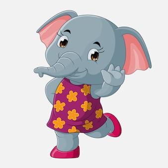 Dibujos animados lindo elefante saludando, vector