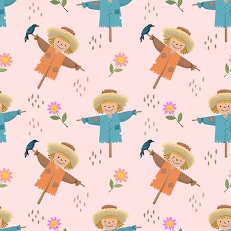 Dibujos animados lindo espantapájaros y flores de patrones sin fisuras.