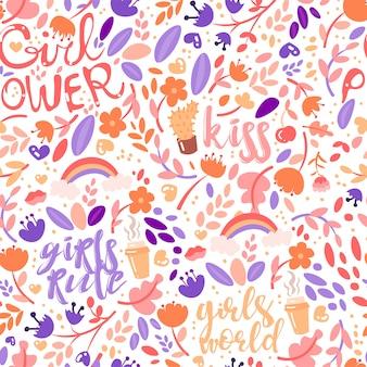 Dibujos animados lindo feminista y floral de patrones sin fisuras con poder de niña y niñas reglas elementos de moda.