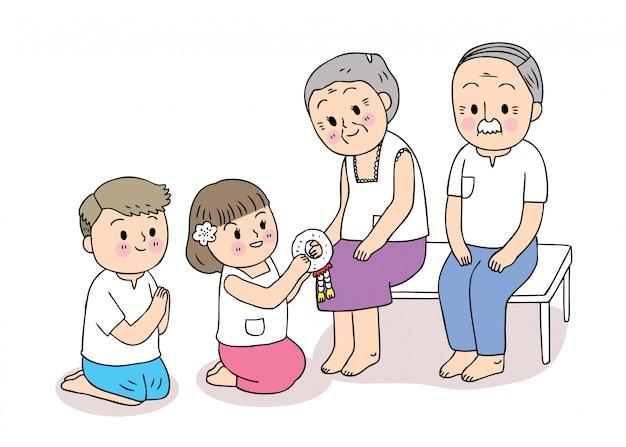Dibujos animados lindo festival songkran tailandia, día de la familia, niño y niña respetan al vector de los abuelos.
