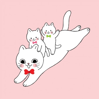 Dibujos animados lindo gato y bebé saltando vector.