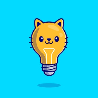 Dibujos animados lindo gato bombilla
