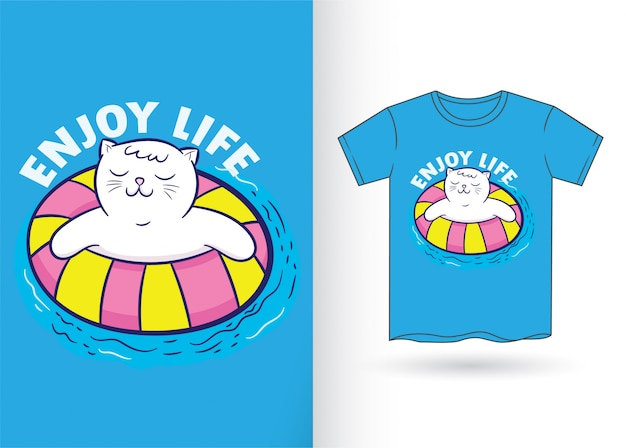 Dibujos animados lindo gato para camiseta