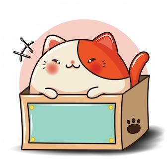 Dibujos animados lindo gato concepto de tienda de mascotas.