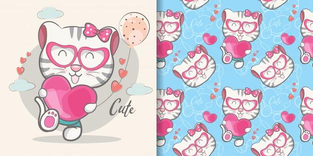 Dibujos animados lindo gato con conjunto de patrones