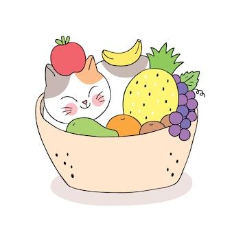 Dibujos animados lindo gato durmiendo y frutas en la cesta