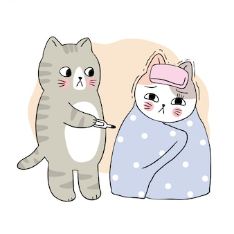 Dibujos animados lindo gato enfermo