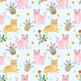 Dibujos animados lindo gato y flores de patrones sin fisuras.