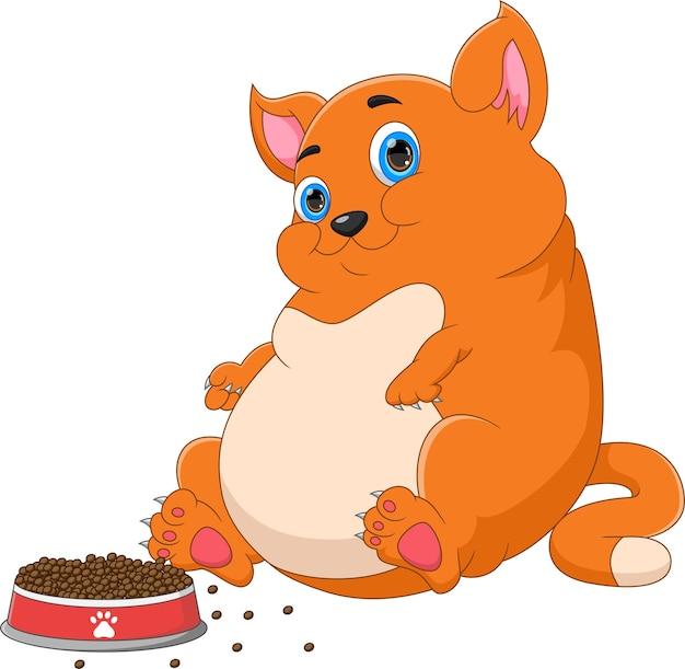 Dibujos animados lindo gato gordo con comida sobre fondo blanco