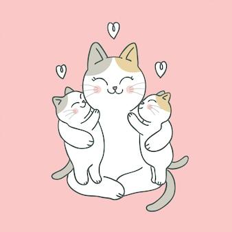 Dibujos animados lindo gato mamá y bebé