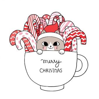 Dibujos animados lindo gato de navidad y dulces en la taza.