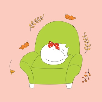 Dibujos animados lindo gato otoño dormir vector.