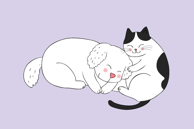 Dibujos animados lindo gato y perro durmiendo vector.