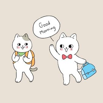 Dibujos animados lindo gato de regreso a la escuela decir buenos días