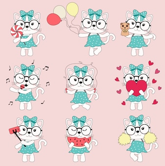 Dibujos animados lindo gato rosa