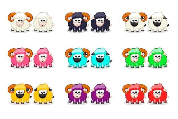 Dibujos animados lindo gracioso color ovejas y ram