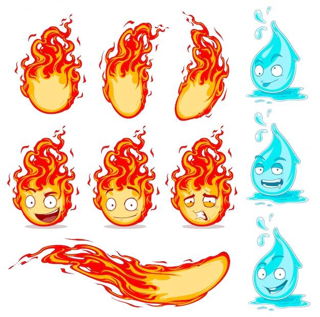 Dibujos animados lindo gracioso gotas de agua y bolas de fuego